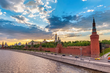 Moscow Russia, Sunset City Sky...