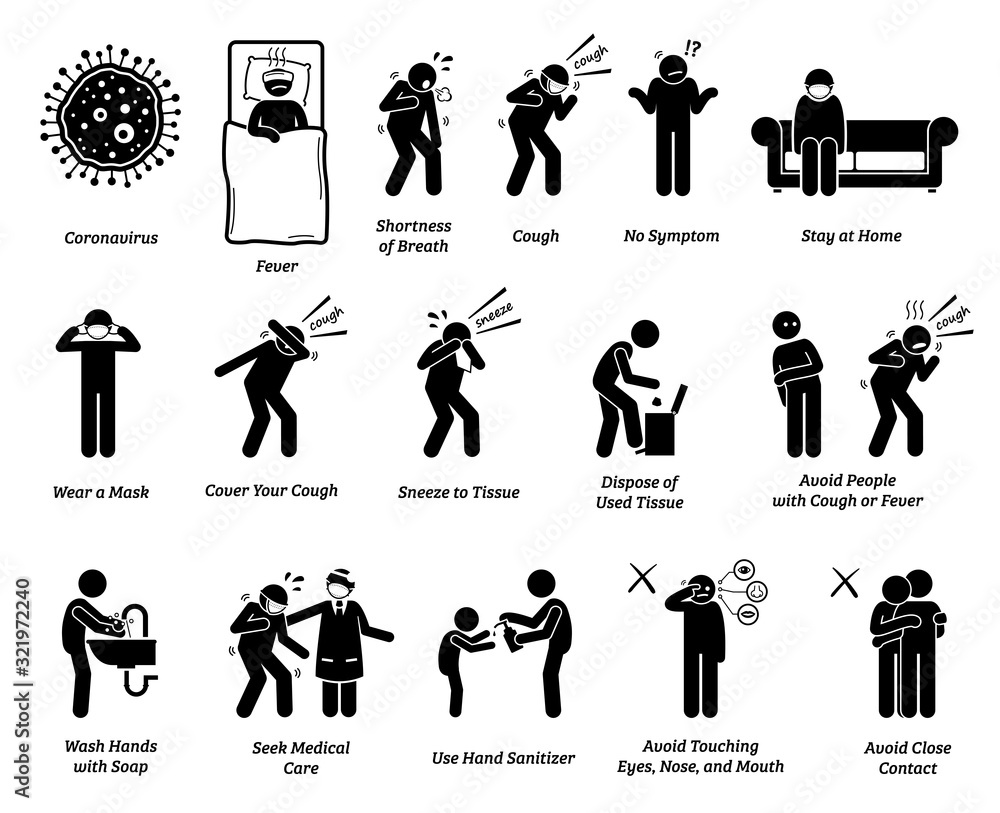 Fototapeta Sign symptoms of coronavirus and prevention tips. Vector artwork of people infected with coronavirus, influenza, or flu. Precaution and prevention ways to stop the pandemic virus from spreading.