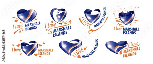 National flag of the Marshall Islands in the shape of a heart and the inscription I love Marshall Islands Canvas Print
