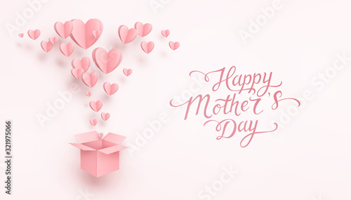 Obraz Hearts with gift box postcard. Paper flying elements on pink background. Vector symbols of love for Happy Mother's greeting card design.. - fototapety do salonu