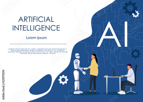 Obraz Ai or artificial intelligence vector concept with ai robot handshake with human. Symbol of future cooperation, technology advance, innovation. Eps10 vector illustration - fototapety do salonu