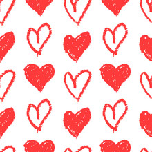 Love Seamless Pattern With Hand Drawn Hearts. Vector Background.