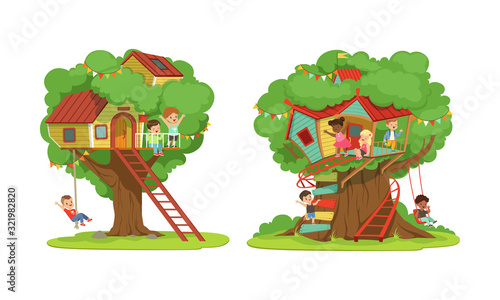 Obraz na plátně Tree House for Kids Collection, Boys and Girls Playing and Having Fun in Treehou