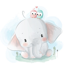 Cute Little Elephant With Bird...