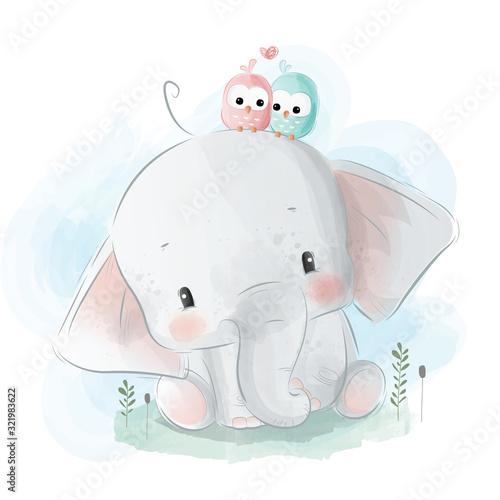 sliczny-maly-slon-z-ptaszynami-dalej