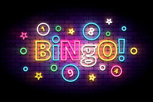Bingo Neon Sign With Lottery B...
