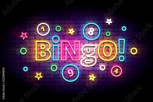Bingo neon sign with lottery balls and stars Canvas Print
