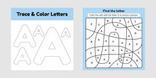 Coloring Book Letter For Kids. Worksheet For Preschool, Kindergarten And School Age. Trace Line. Write And Color