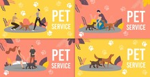 Dog Sitters, Professional Dog Training Service Trendy Flat Vector Ad Banners, Promo Posters Set. Female, Male Pet Trainers, Dog Handlers Or Walkers Playing With Purebred Puppies In Park Illustration