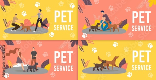 Fotografía Dog Sitters, Professional Dog Training Service Trendy Flat Vector Ad Banners, Promo Posters Set