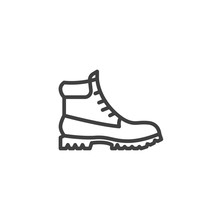 Hiking Boot Line Icon. Linear Style Sign For Mobile Concept And Web Design. Mens Boots Shoe Outline Vector Icon. Symbol, Logo Illustration. Vector Graphics