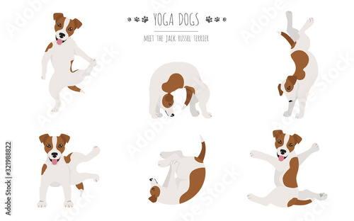 Obraz Yoga dogs poses and exercises poster design. Jack Russel terrier clipart - fototapety do salonu