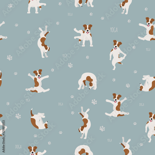 Obraz Yoga dogs poses and exercises seamless pattern design. Jack Russel terrier clipart - fototapety do salonu