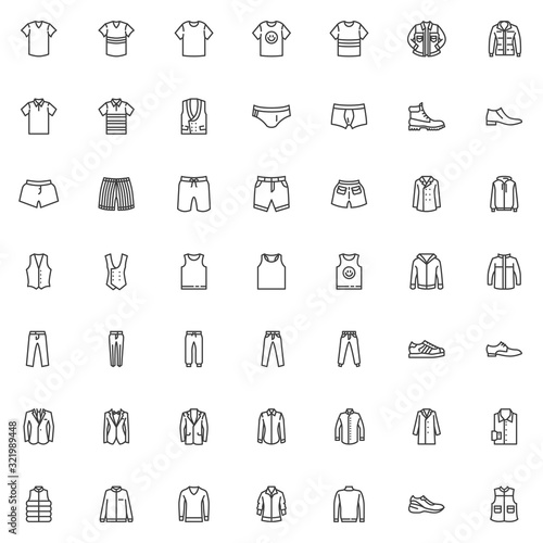 Obraz Men's clothing line icons set. Male garment linear style symbols collection, Man fashion Clothes outline signs pack. vector graphics. Set includes icons as shirt, business suit, hoodie, shoe, jacket - fototapety do salonu