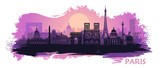 Fototapeta Fototapety Paryż - Stylized landscape of Paris with Eiffel tower, arc de Triomphe and Notre Dame Cathedral with spots and splashes of paint