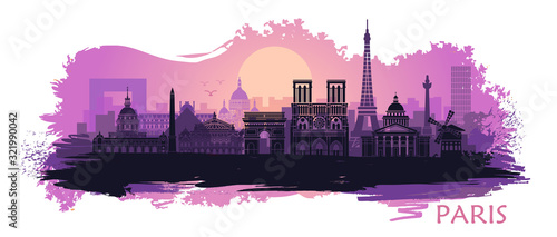 Fototapeta Stylized landscape of Paris with Eiffel tower, arc de Triomphe and Notre Dame Cathedral with spots and splashes of paint obraz