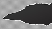 Piece Of Torn, Ripped Squared Grey Paper Hole With Soft Shadow Is On Black Background For Text. Vector Illustration
