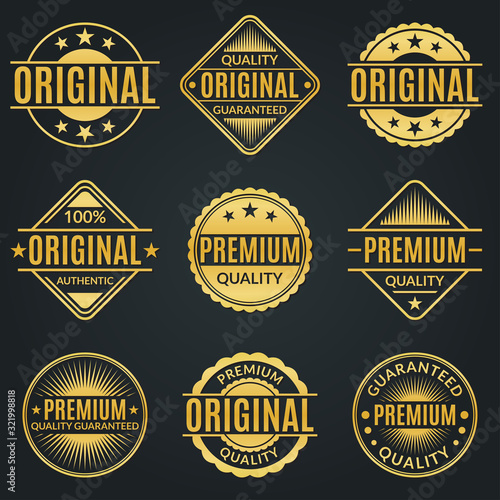 Obraz Vintage badge and retro logo set. Original, Premium quality and Guarantee stamp, seal and label collection. Vector illustration. - fototapety do salonu