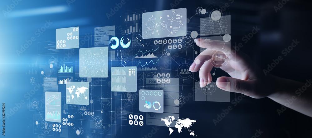 Fototapeta Business intelligence analyst dashboard on virtual screen. Big data Graphs Charts.