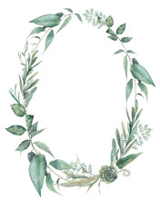 Green Plants Oval Frame. Hand ...