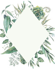 Geometry Floral Frame. Hand Drawn Plants Card Design With Succulent, Eucalyptus, Fern Leaves. Greeting Or Wedding Template.