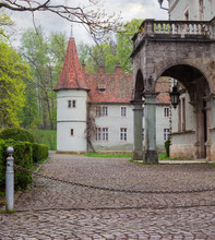 Fragment Of The Old Castle In Spring Cloudy Morning