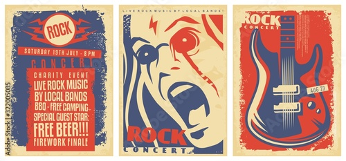 Set of poster templates for rock music concerts and musical events. Live music party flyers collection. Hard rock, punk or pop music signs with electric guitar, singer portrait and artistic lettering.
