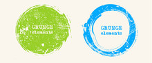 Set Of Grunge Vector Round And...