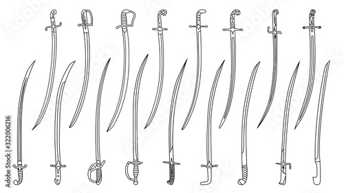 Set of simple monochrome images of saber swords drawn by lines. Wallpaper Mural
