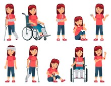 Girl With Injury. Child With Bruised Hand, Nose Blood And Broken Leg Or Hand In Plaster. Children In Wheelchair Vector Cartoon Illustration Set. Kid With Limited Mobility, Physical Impairment, Trauma.