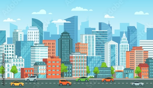 Obraz Cityscape with cars. City street with road, town buildings and urban car cartoon vector illustration. Panoramic view with automobiles riding against modern downtown skyscrapers on background. - fototapety do salonu