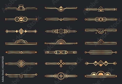 Golden art deco dividers. Decorative geometric border, retro gold dividers and luxury 1920s decoration elements vector set. Collection of decorative horizontal lines, ornaments in fancy vintage style.