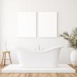 Leinwanddruck Bild - Mockup canvas in minimalist white bathroom interior, 3d render