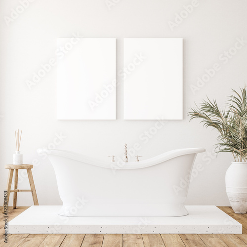 obraz lub plakat Mockup canvas in minimalist white bathroom interior, 3d render