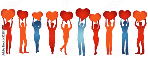 Photo Silhouette group of volunteer people with raised arms holding heart shaped speech bubble