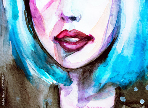 Photo Blue eyes and blue hair, watercolor closeup portrait of young woman in watercolo