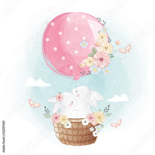 Bunny Couple Flying with a Balloon Fototapeta