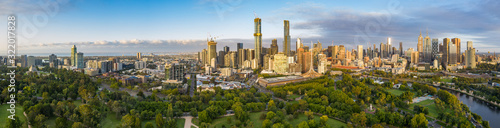 Fototapeta Melbourne Australia February 2nd 2020 : Dawn aerial panoramic image of the city of Melbourne Australia captured from the Botanic Gardens, from the Shrine of Rememberance to Flinders street station obraz