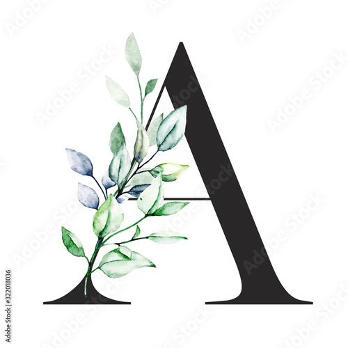 Fototapeta Floral letter a with watercolor leaf. Letterhead isolated on white. Leaves monogram initials perfectly for wedding invitation, greeting card, logo and other design. Holiday design hand painting.  obraz na płótnie