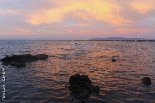 Fotografie, Obraz Sunset in Monte Argentario (Baths of Domitian beach)