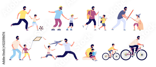 Father with children. Happy fatherhood, daddy and kids spending time together playing football, hiking and sunbathing, fishing vector set. Illustration father and sin ride bike and play - 322018676