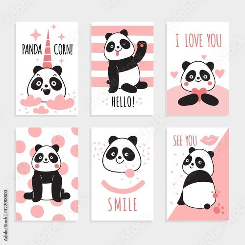 Panda cards. Cute chinese bears, happy panda with magic accessories, birthday party invitations. Colorful print cartoon vector set. Panda character on card , bear mammal funny illustration Wall mural