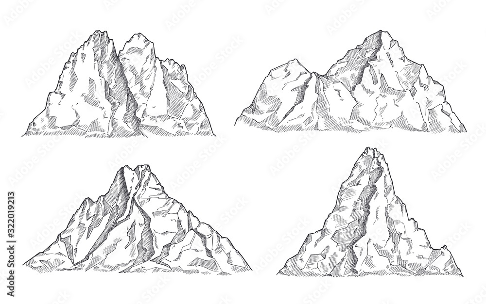 Fototapeta Mountains sketch. Art drawing mountain, engraved panorama silhouette. Vintage wildlife landscape, rocky peaks elements. Nature vector set. Illustration rocky peak, mountain silhouette rock sketch