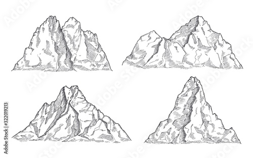 Mountains sketch. Art drawing mountain, engraved panorama silhouette. Vintage wildlife landscape, rocky peaks elements. Nature vector set. Illustration rocky peak, mountain silhouette rock sketch