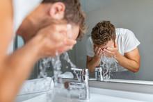 Face Wash Man Splashing Water ...