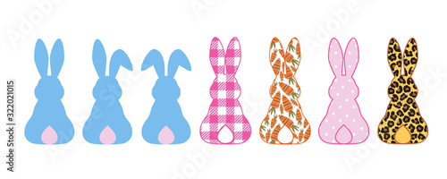 Fotografija .   Silhouettes collection of Rabbits . Bunny ears, Leopard, buffalo plaid, polk