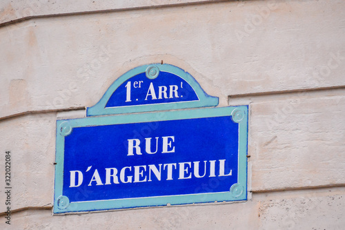 Frenc street sign, Photo image a Beautiful panoramic view of Paris Metropolitan Canvas Print