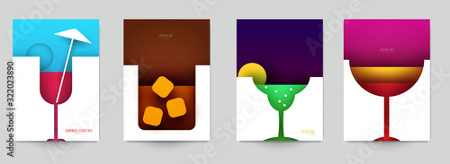Set of abstract silhouette cocktails with alcohol or juice in minimalistic geometric flat style. Creative colorful composition. Concept for branding menu, cover, flyer, banner. Vector illustration. - 322023890