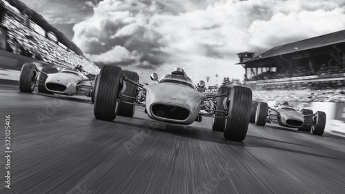 Fototapety Sport  f1-racing-1966-3d-render