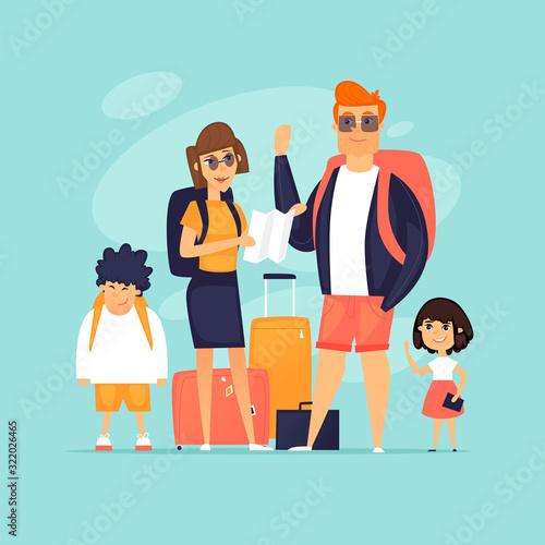 Obraz Traveling with children. Family vacation - fototapety do salonu